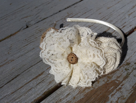 Hochzeit - Burlap and Lace Headband/Country Wedding/Rustic Wedding/Flower Girl Headband/Flower Girl/Rustic Headband-Burlap-Lace