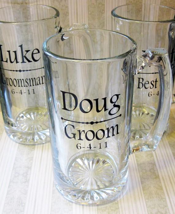 Hochzeit - SINGLE DIY Personalized Groom/Groomsmen Beer Stein Decals- Glasses NOT included..