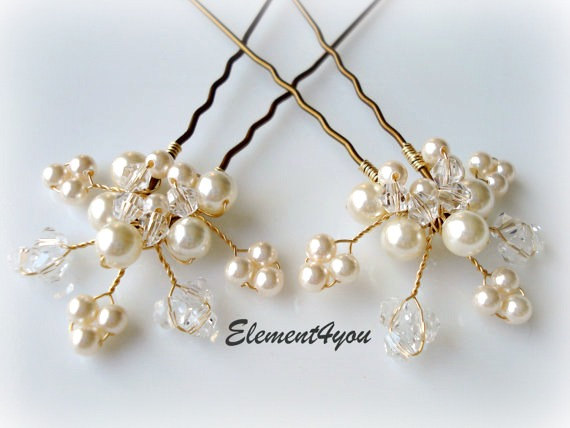 Bridal Hair Piece Wedding Pins Leaves Vines Ivory Gold Pearl Accessories White Pearls Crystal