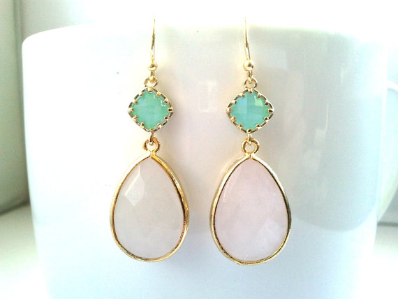 Blush Pink Earrings Mint And Rose Quartz Wedding Jewelry Bridal Bridesmaid Dangle Drop Gift For Her