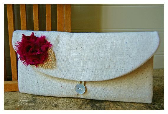 Wedding - plum clutch purse, burlap Bridesmaid gift, bridesmaid clutch, rustic wedding, bridal clutch, wedding clutch, shabby chic, Personalize bag