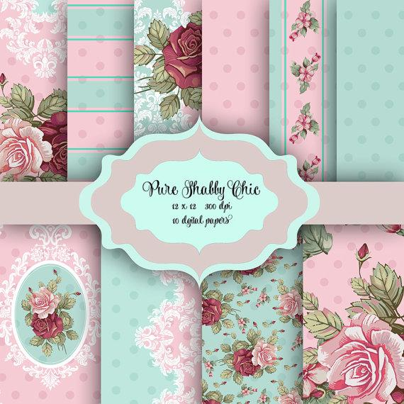 Wedding - Pure Shabby Chic Flowers Digital Paper Pack - Vintage damask floral pattern backgrounds for scrapbooking, wedding invitations - Pink & Mint