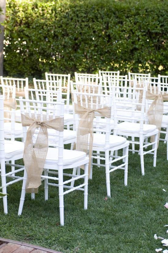 Wedding - 50 Qty Burlap chair sash - Rustic wedding