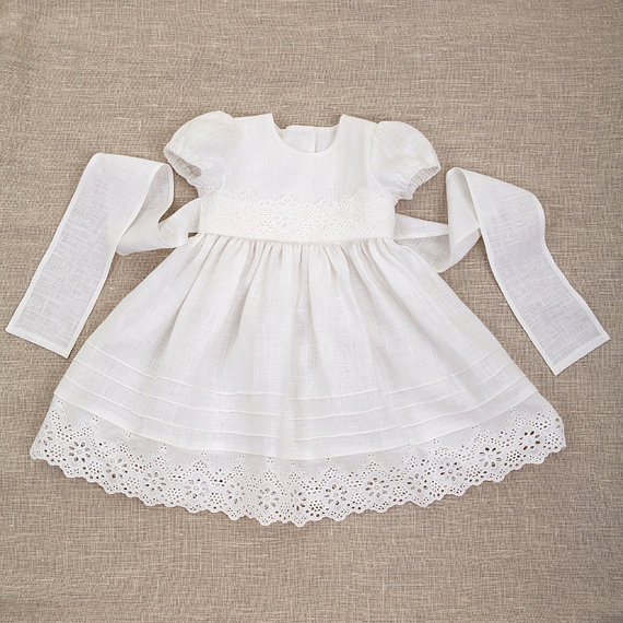 Baby Girl Baptism Linen Dress Heirloom Gown Special Occasion ...