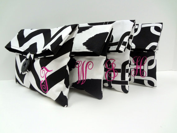 Mariage - 4 Bridesmaid Clutches, Black and White Makeup Bags, Black and Hot Pink Wedding