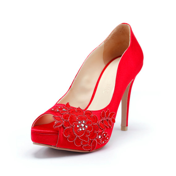 Mariage - Red Wedding Heels with Red Flower Embroidery Lace, Red Wedding Shoes with Red  Lace, Red Wedding Heels, Red Bridal Heels with Red Embroidery
