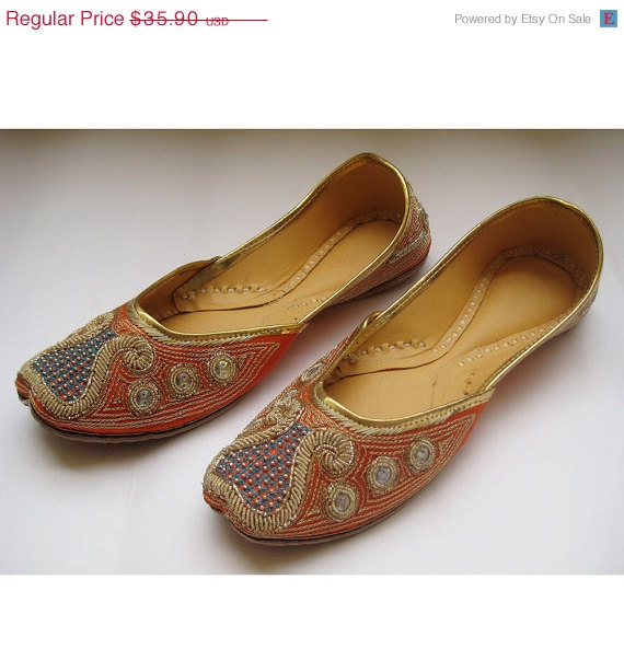 VALENTINE DAY SALE 20% Us Size 8.5/Sequins Bridal Ballet Flats/Gold Flats/Orange Bridal Shoes ...
