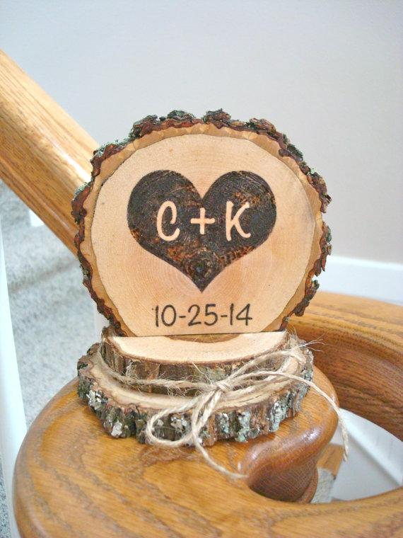 Rustic Wedding Cake Topper Wood Burned Heart Personalized Romantic Country Ideas