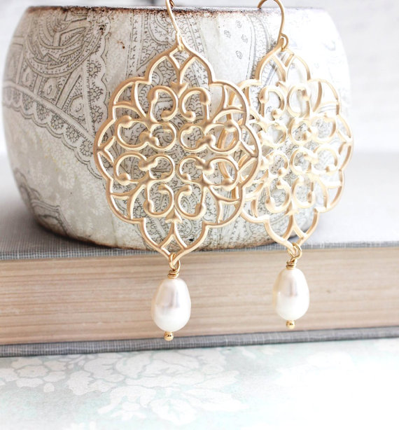 Gold Filigree Earrings Big Lace Dangle Pretty Modern Large