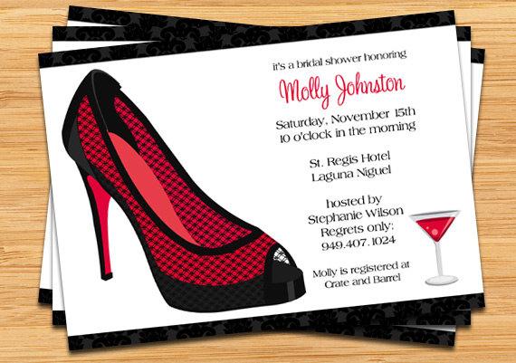 stiletto bridal shower invitation black and red