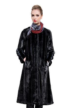 Wedding - Faux black mink fur slim women long coat