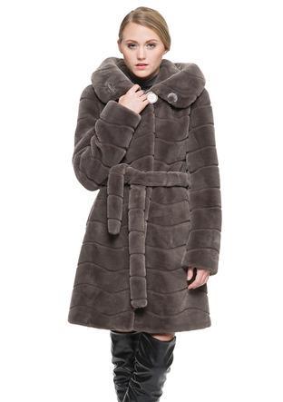 Mariage - Faux dark gray mink cashmere long women coat
