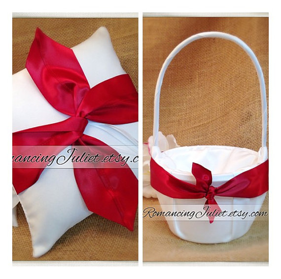 Wedding - Knottie Style Flower Girl Basket and Ring Bearer Pillow Set...You Choose The Colors..shown in white/dark red