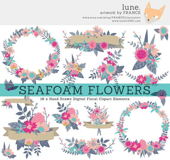 Wildflower Clipart Wreaths Banners Bouquets Simple