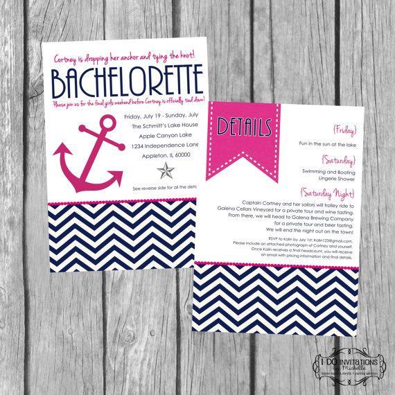 زفاف - Anchor Bachelorette Party Invitation - Nautical Navy & Pink - Digital Files