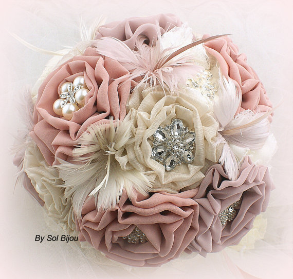 Brooch Bouquet Vintage Style In Ivory Tan Blush Rose And Dusty With Feathers Lace Brooches