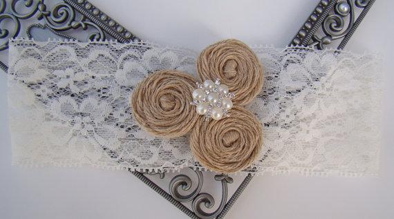 Mariage - Rustic Bridal Garter Ivory Lace Garter Burlap Rosette Trio Crystal & Pearl Embellished Keepsake Wedding Vintage Antique