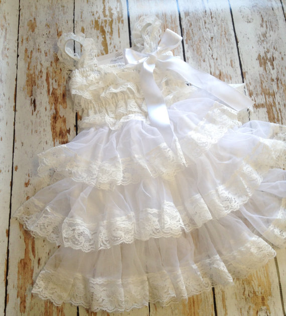 Mariage - White Lace Dress, Baby Girl Dress, Lace Ruffle Dress, White Petti Lace Dress, Flower Girl Dress