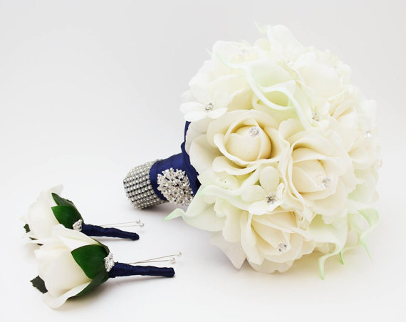 Mariage - Reserved - Navy White Wedding Flower Package Bridal Bouquet Stephanotis Real Touch Roses Calla Lily Groom Boutonnieres
