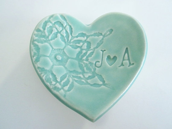 engagement ring holder mint green ring dish wedding ring holder bridal shower gift - Wedding Ring Dish