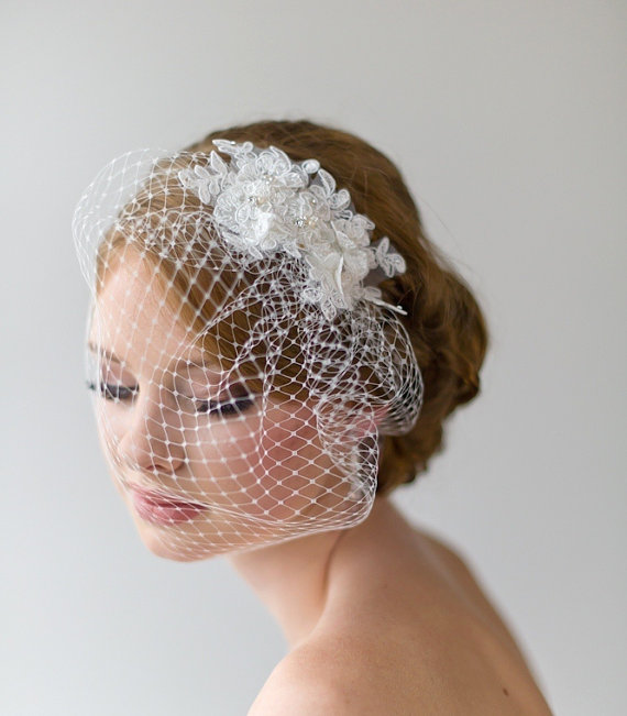 Birdcage Veil 9 Inch Wedding Lace Vintage Style
