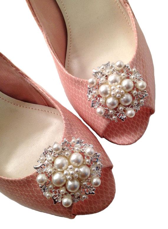 Wedding - Faux Sure Pearls Shoe Clips