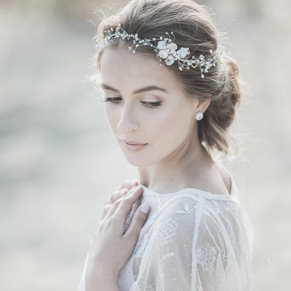 Wedding Hairstyles With Headpieces: Wedding Pearl Headband ,Wedding Halo, Freshwater Pearl