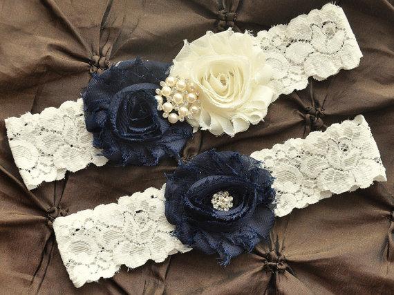 Свадьба - Wedding Garter Belt, Bridal Garter Set - Ivory Lace Garter, Keepsake Garter, Toss Garter, Shabby Chiffon Ivory Navy Blue, Something Blue