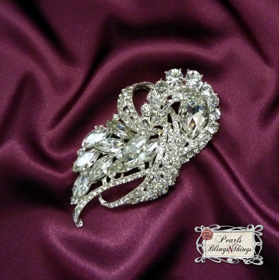 Mariage - SALE Beautiful Ex-Large Crystal Rhinestone Brooch Brooches SILVER or GOLD Bridal Bouquet Wedding Dress Sash