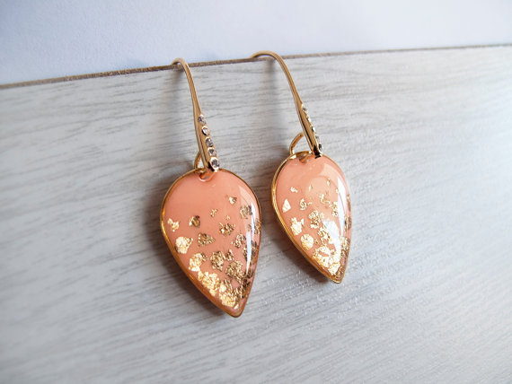 Mariage - Peach Gold Dangle Earrings - Bridesmaid Jewelry - Bridal Jewelry