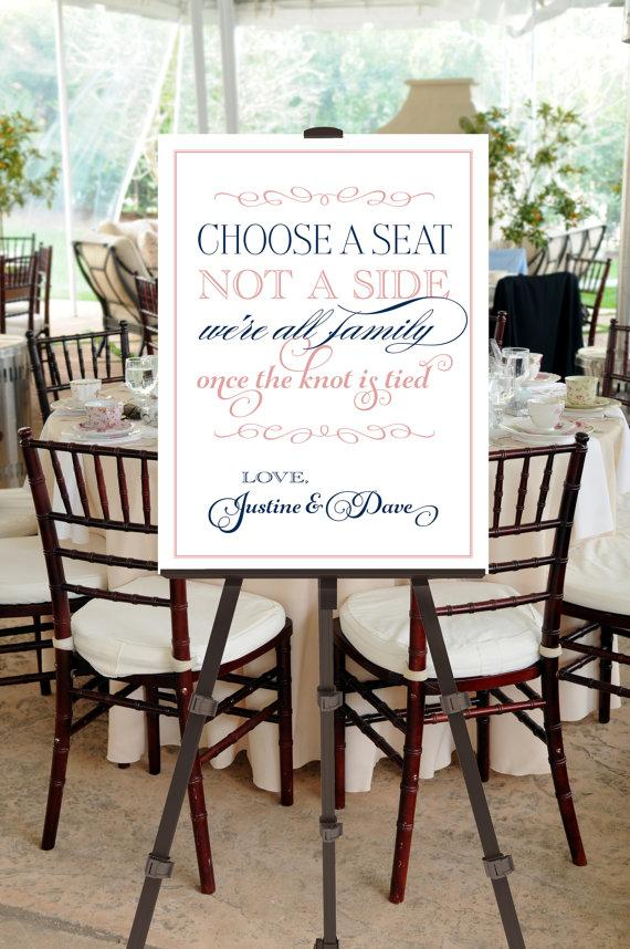 Printable Vintage Wedding Seating Sign -- Choose A Seat, Not A Side ...