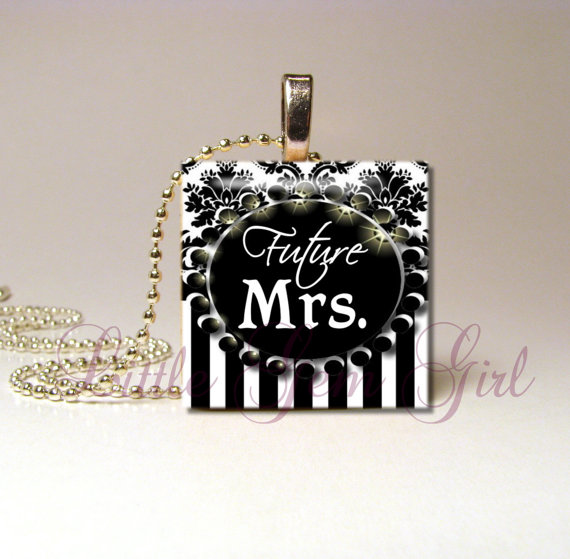 Mariage - Future Mrs. Necklace Pendant - Bride to Be Wedding Elegant Black & White Striped Damask 1 inch Bridal Bride to Be Jewelry - Bride Charm