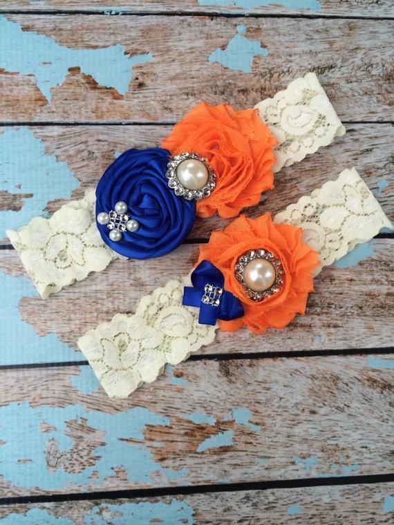 Mariage - 61 different colors / Wedding garter / royal blue- orange garter SET / wedding garters / bridal  garter/  lace garter / vintage lace garter