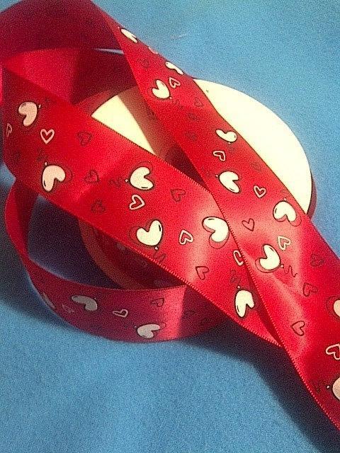 "Mariage - Hearts Balloons on Red Satin Ribbon /1.5""(38 mm )width /Head band/DIY Head Bow/ Wedding Supplies /Bouquet Ribbon"