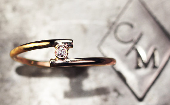 Mariage - Petite Diamond Solitaire Ring set in 14K Yellow Gold- Diamond Ring- Engagement Ring- Everyday Ring