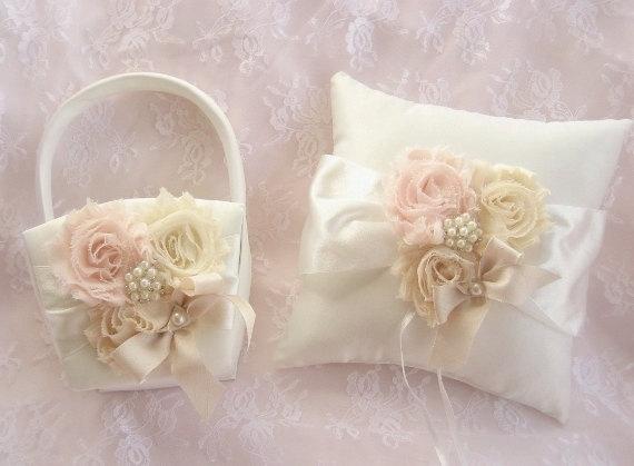 Mariage - Flower Girl Basket, Flower Girl Basket -  Blush Rose Blossom Ivory Ring Bearer Pillow, Flower Girl Basket Wedding Pillow