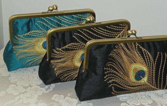Свадьба - Embroidered Peacock Feather..Clutch/Purse/Bag..Bridal/Wedding Gift..Black/Teal Silk Fabric..Elegant Plume..Free Monogram..Wrap Match