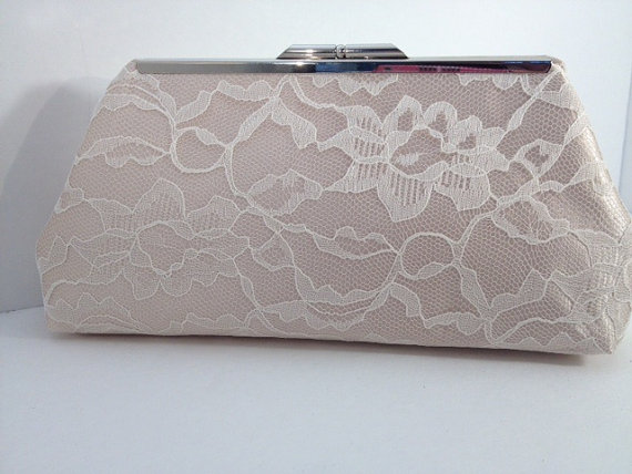 Mariage - Ivory Lace Over Champagne Satin Clutch Purse, Bridesmaid Clutch, Bridal Purse, Wedding, Bridesmaid Gifts, Special Occasion, Accessory