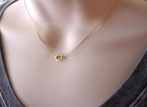 Mariage - Tiny gold knot necklace...simple every minimalist handmade jewelry, Tie the Knot bridal jewelry, wedding, bridesmaid gift, friendship