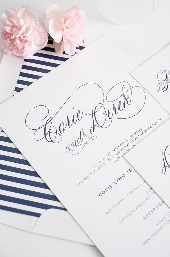 Mariage - Navy Wedding Invitation - Navy Wedding Invites - Stripes, Blue, Elegant - Script Elegance Wedding Invitations by Shine Invitations