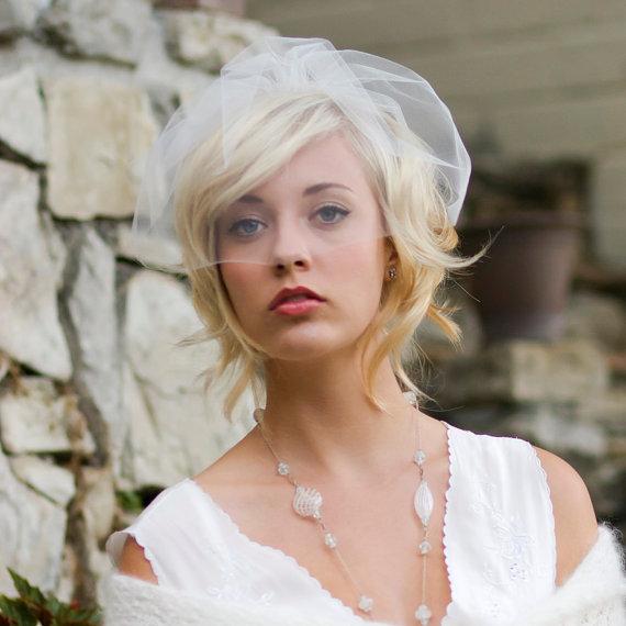 زفاف - Wedding veil, birdcage veil, wedding hair accessory, mini blusher veil, ready to Ship, Style 772