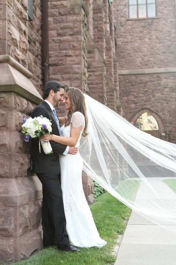 زفاف - Cathedral veil, single tier, 108 inches, wedding veil, bridal veil available in white, diamond white, light ivory, and ivory