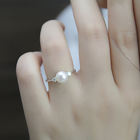 Real pearl ringcubic zirconia engagement ringsjune for Pearl engagement ring with wedding band