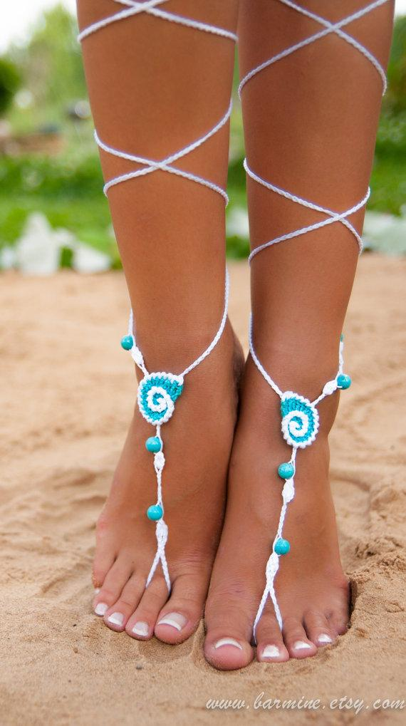Mariage - Seashell White and Aqua Crochet Barefoot Sandals, Nude shoes, Bridal foot jewelry, Turquoise gemstone Anklet, Turquoise accessory, Wedding