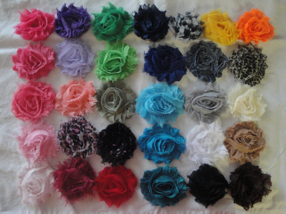 Свадьба - Set of 2 Headbands - Shabby Chic Chiffon Flower Skinny Elastic Headband in Several Colors - made to fit any age
