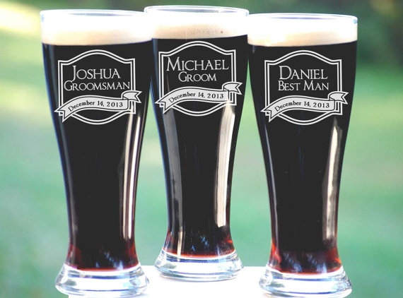 Best Groomsmen Gifts, 6 Personalized Beer Glasses, Unique Gift ...