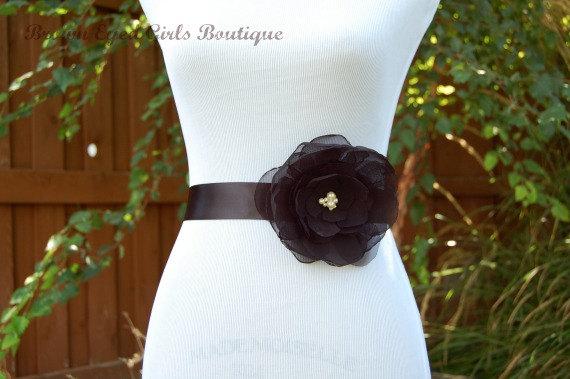 Mariage - Black Chiffon Flower Bridal Sash, Black Bridal Belt, Black Wedding Belt