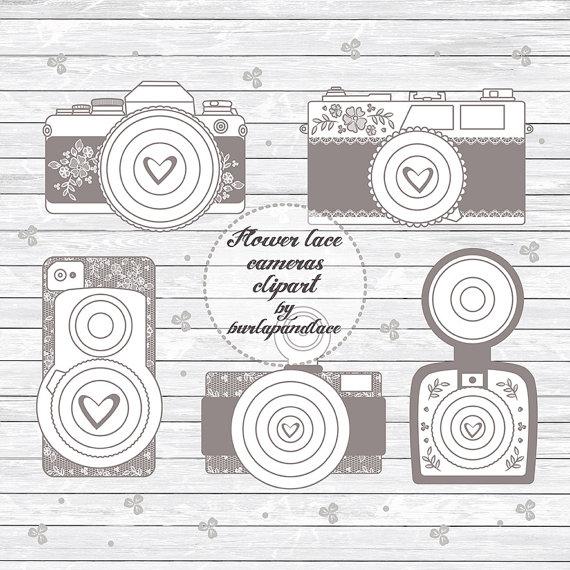 Rustic Cameras Clipart, Shabby Chic Cameras Clipart, Wedding ...