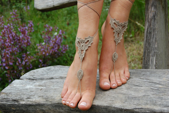 Wedding - Crochet Barefoot Sandals, Beach Shoes, Wedding Accessories, Nude Shoes, Bridal shoes, Pool shoes