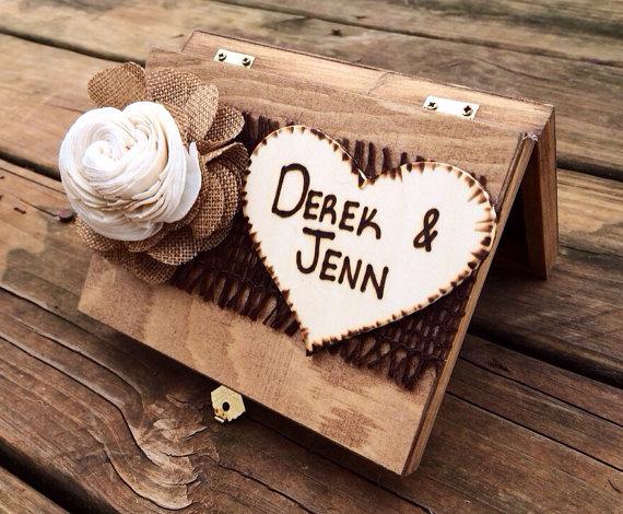 Shabby Chic Ring Bearer Box - Rustic Wedding Decor - Ring Bearer Pillow Alternative ...